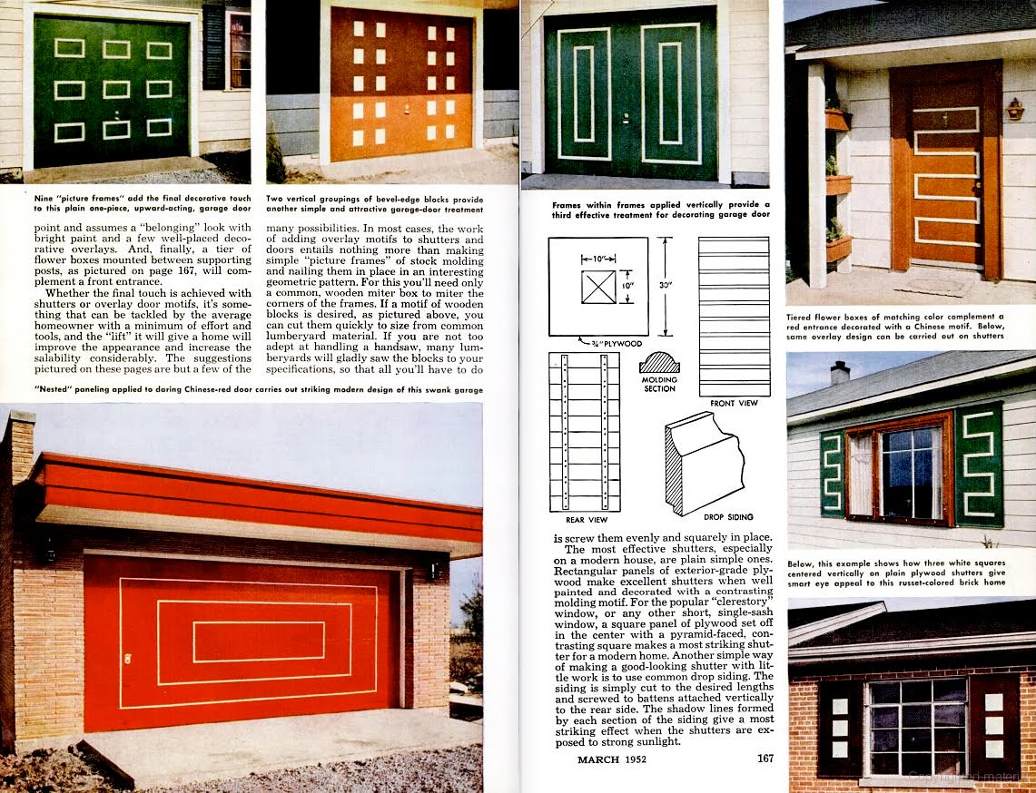mid century modern front door garage doors 1954